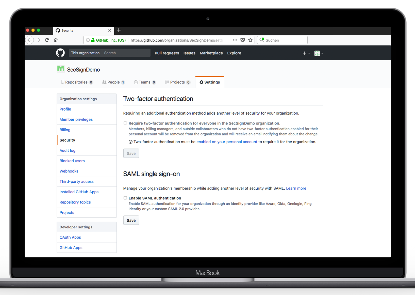 SecSign ID for GitHub with SAML | SecSign 2FA