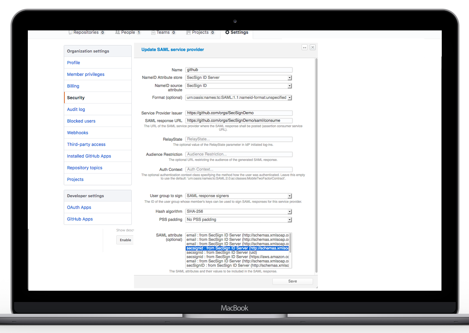 SecSign ID for GitHub with SAML | SecSign 2FA