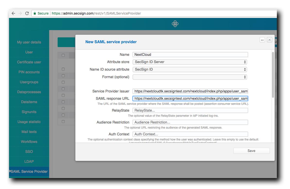 SecSign ID for NextCloud with SAML | SecSign 2FA
