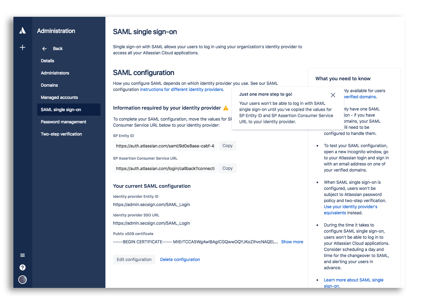 SAML Integration with a JIRA Cloud Setup Identity Manager | SecSign 2FA